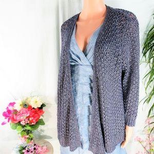 NWT Dress Barn Shimmer Blue Open Drape Cardigan